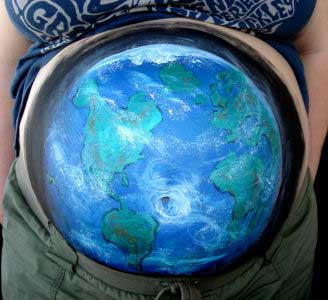 Belly Painting Earth Globe